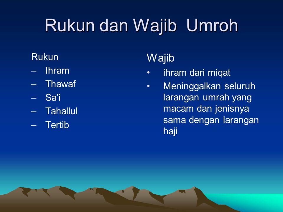 Rukun dan Wajib Umroh Wajib Rukun Ihram ihram dari miqat Thawaf