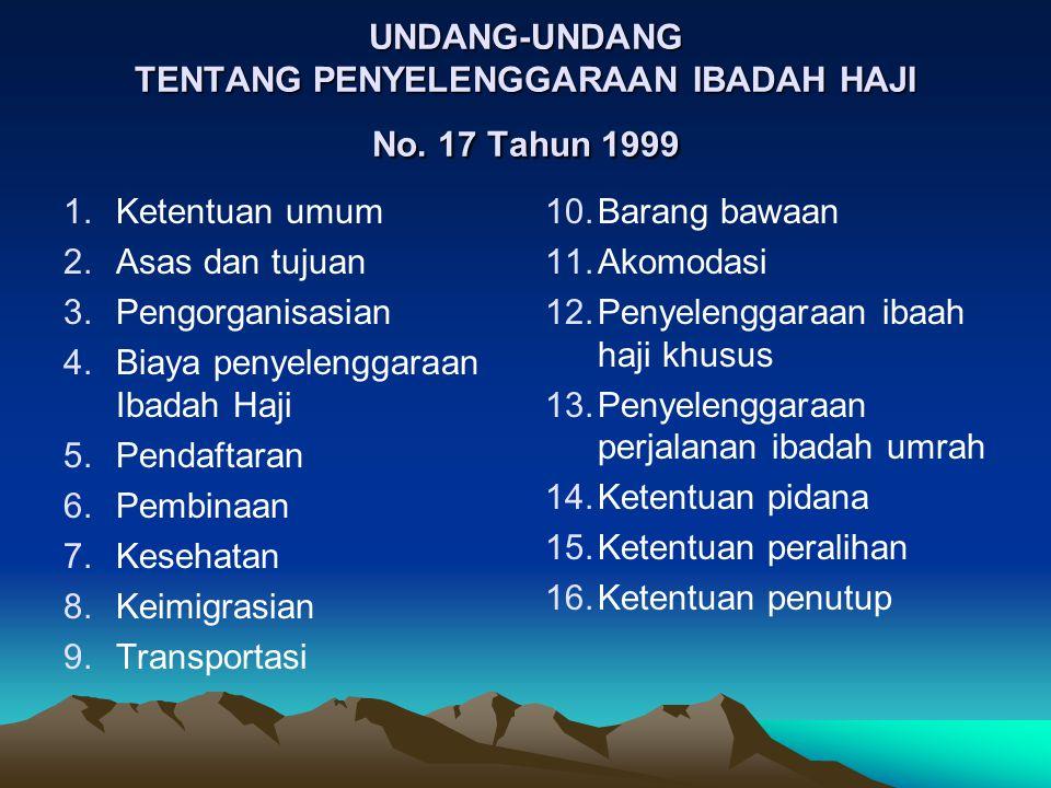 UNDANG-UNDANG TENTANG PENYELENGGARAAN IBADAH HAJI No. 17 Tahun 1999