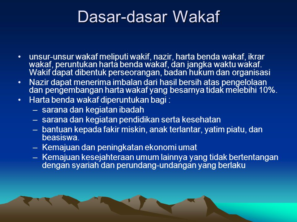 Dasar-dasar Wakaf
