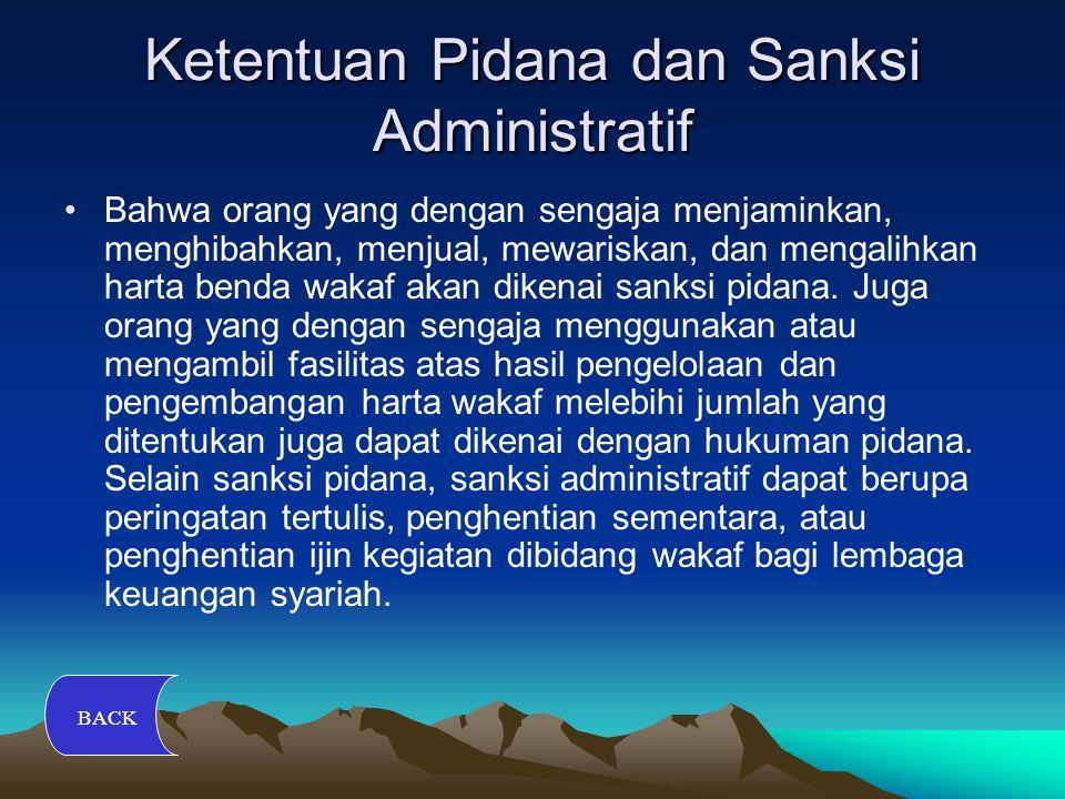 Ketentuan Pidana dan Sanksi Administratif