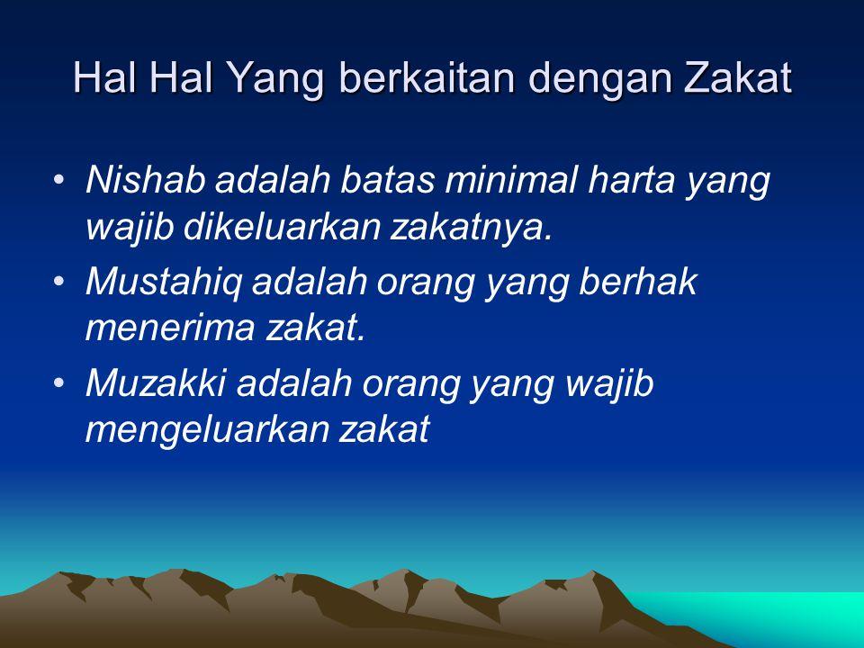 Hal Hal Yang berkaitan dengan Zakat