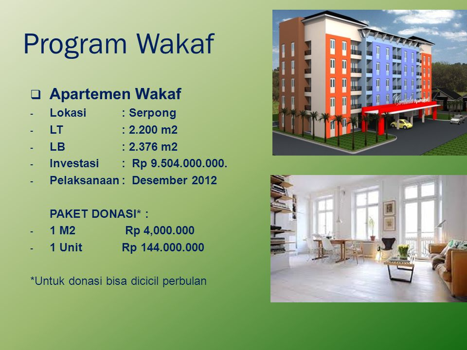 Program Wakaf Apartemen Wakaf Lokasi : Serpong LT : 2.200 m2