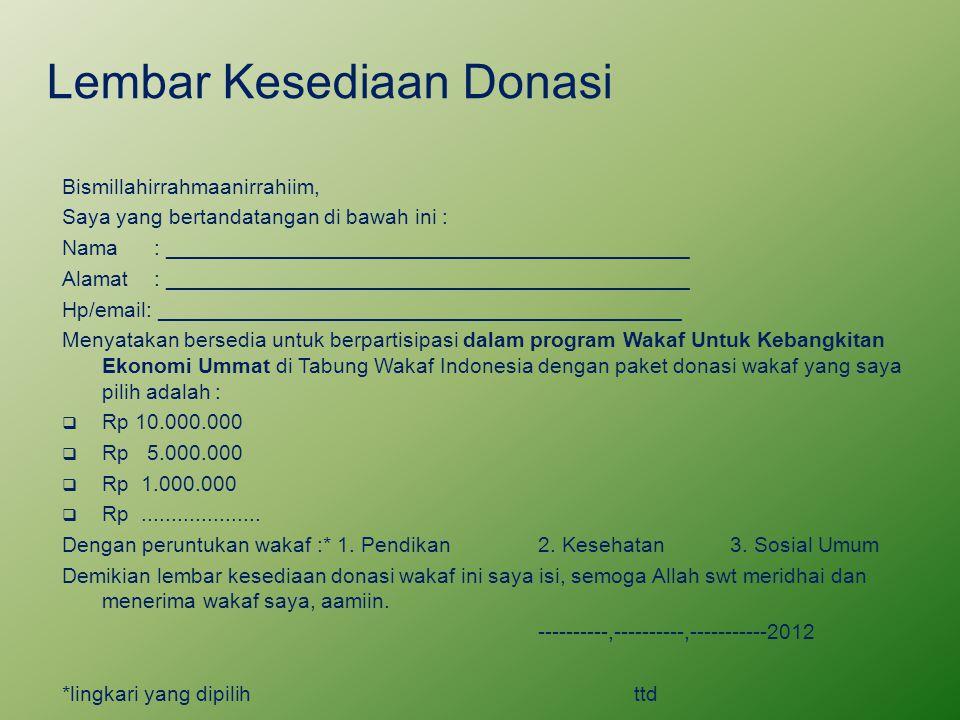 Lembar Kesediaan Donasi