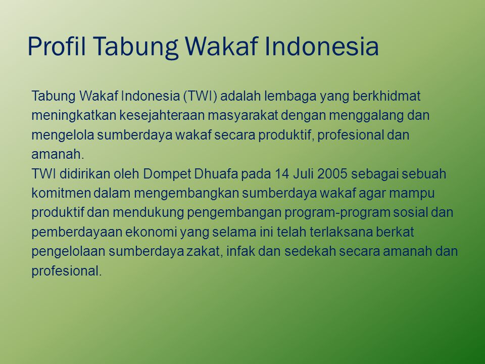 Profil Tabung Wakaf Indonesia