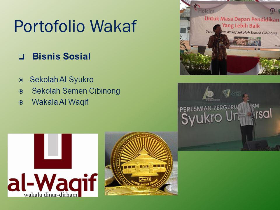 Portofolio Wakaf Bisnis Sosial Sekolah Al Syukro