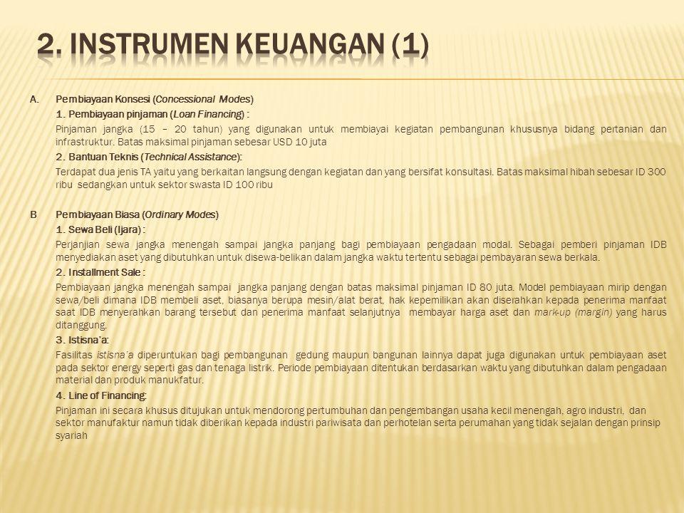 2. INSTRUMEN KEUANGAN (1) A. Pembiayaan Konsesi (Concessional Modes)