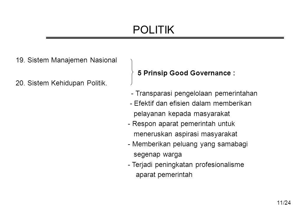 POLITIK 19. Sistem Manajemen Nasional 5 Prinsip Good Governance :