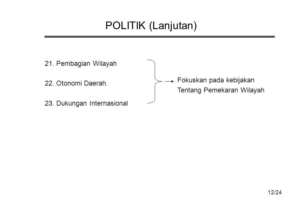 POLITIK (Lanjutan) 21. Pembagian Wilayah 22. Otonomi Daerah.