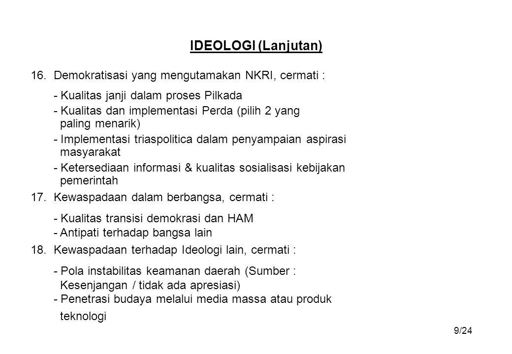IDEOLOGI (Lanjutan) 16. Demokratisasi yang mengutamakan NKRI, cermati : - Kualitas janji dalam proses Pilkada.