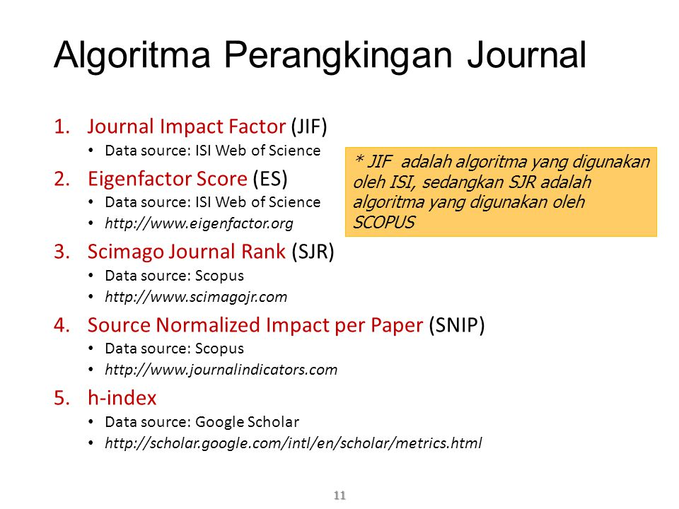 Algoritma Perangkingan Journal