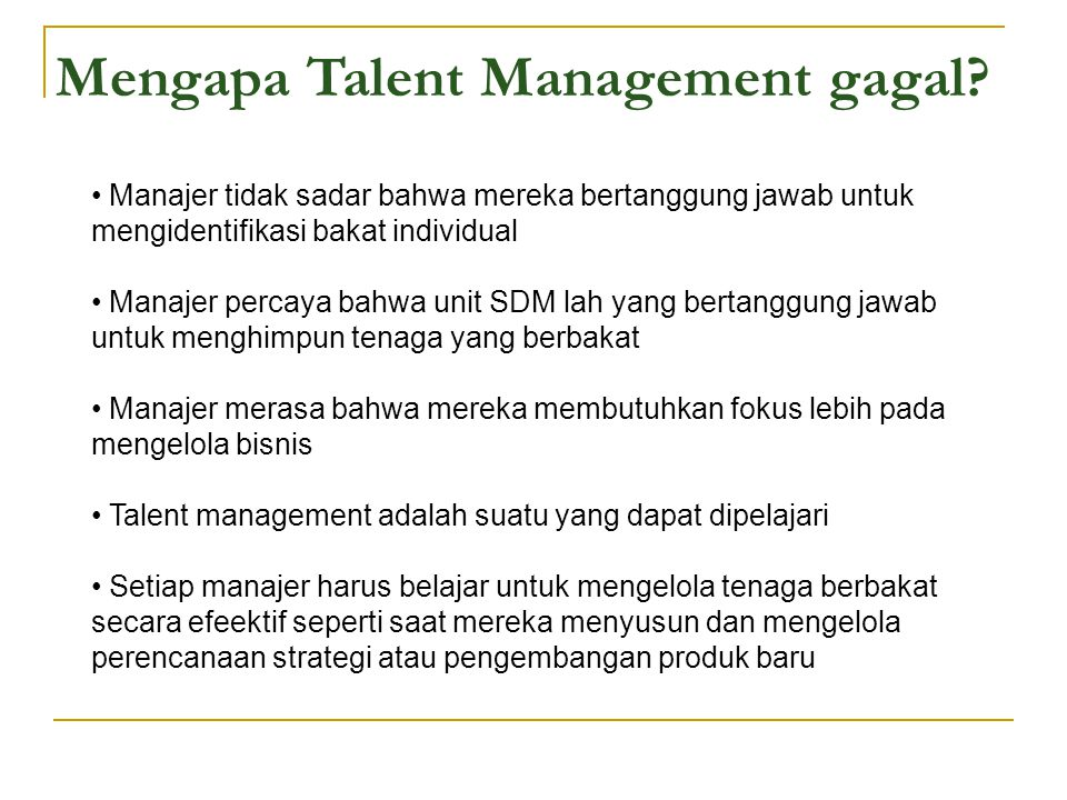 Mengapa Talent Management gagal