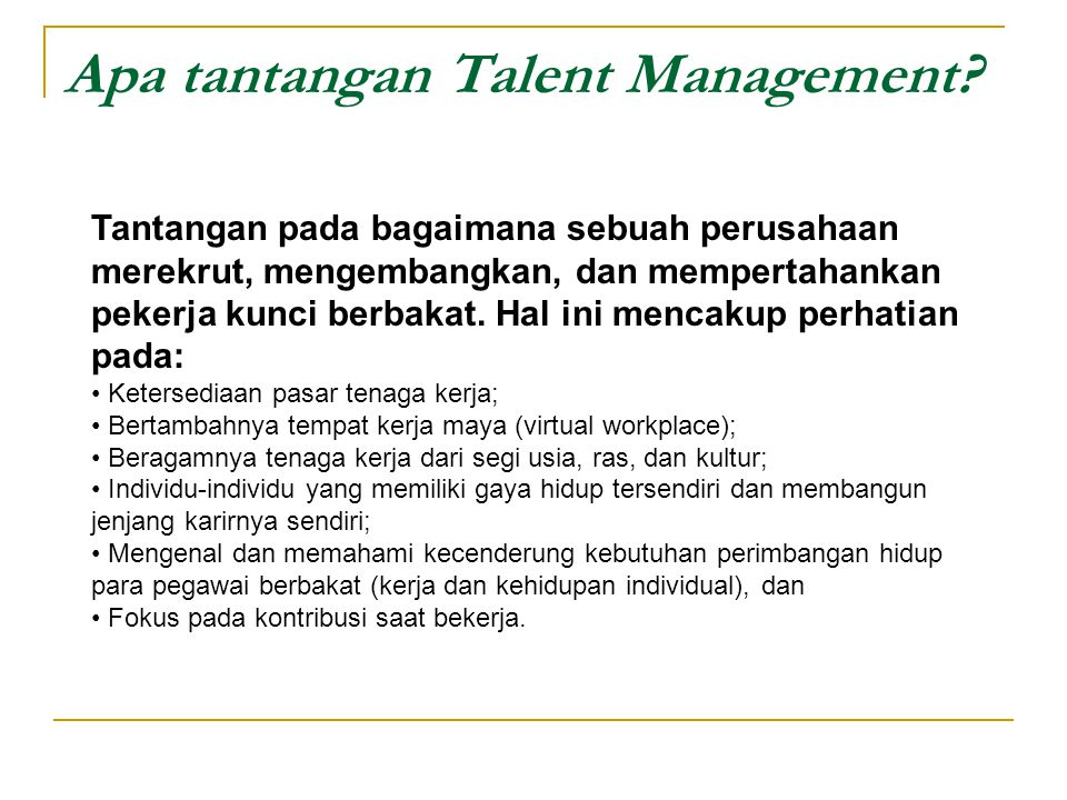 Apa tantangan Talent Management