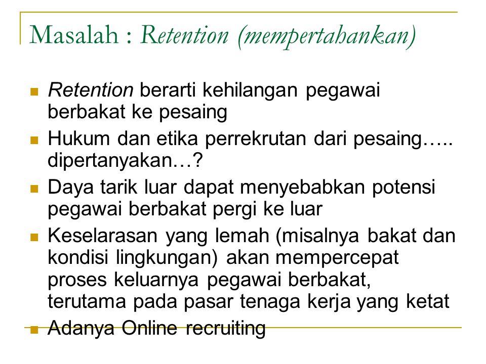 Masalah : Retention (mempertahankan)