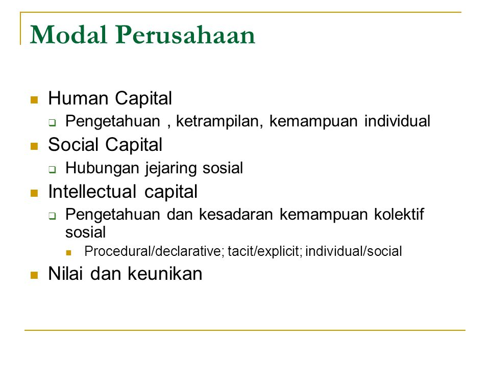 Modal Perusahaan Human Capital Social Capital Intellectual capital