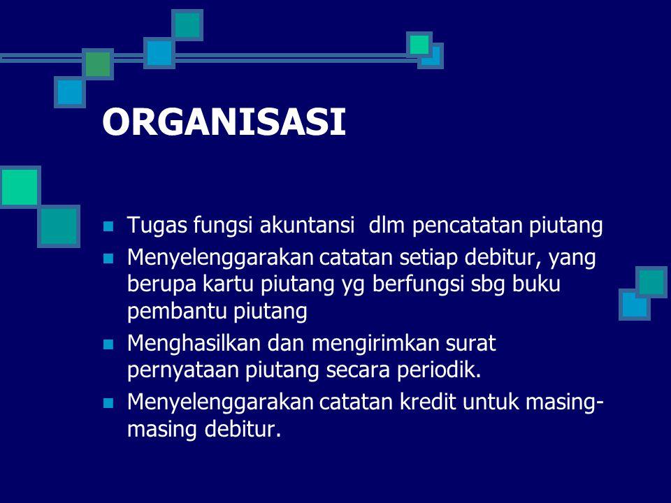 ORGANISASI Tugas fungsi akuntansi dlm pencatatan piutang