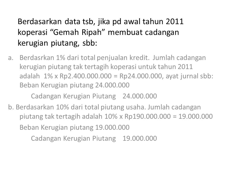 Berdasarkan data tsb, jika pd awal tahun 2011 koperasi Gemah Ripah membuat cadangan kerugian piutang, sbb: