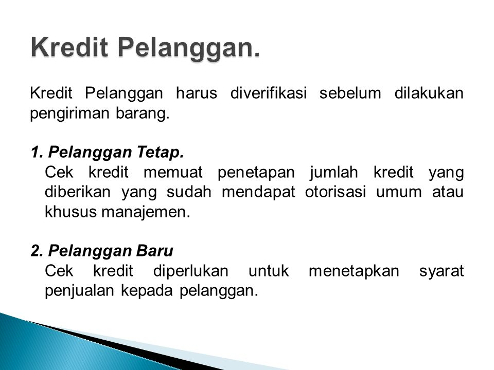 Kredit Pelanggan.