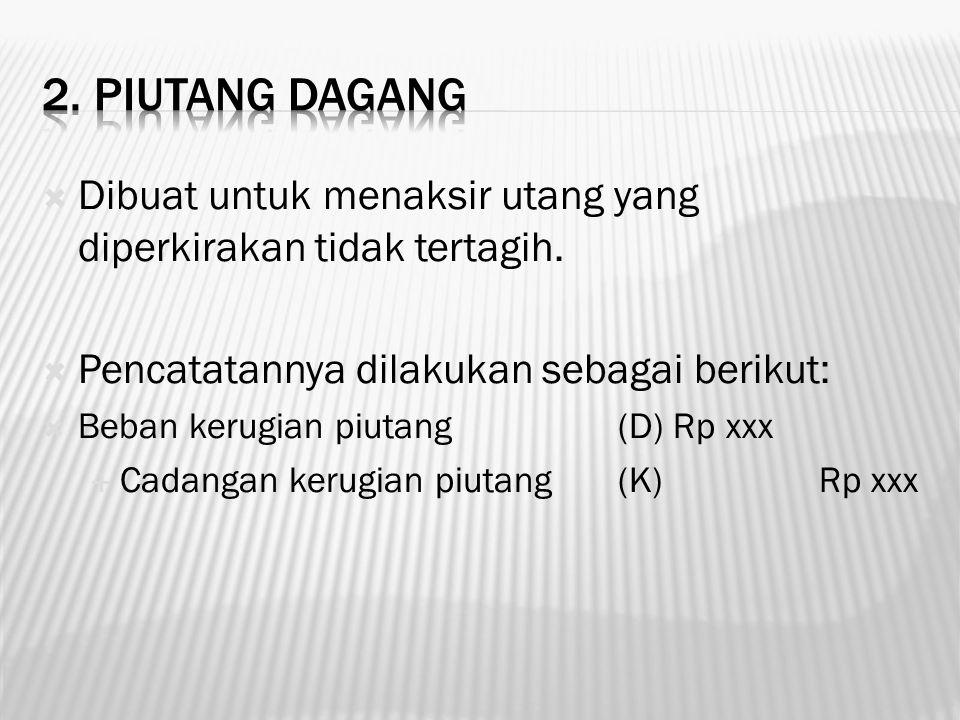 2. Piutang dagang Dibuat untuk menaksir utang yang diperkirakan tidak tertagih. Pencatatannya dilakukan sebagai berikut: