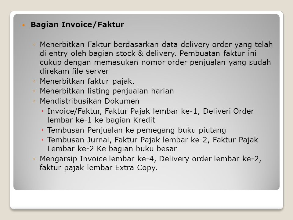 Bagian Invoice/Faktur