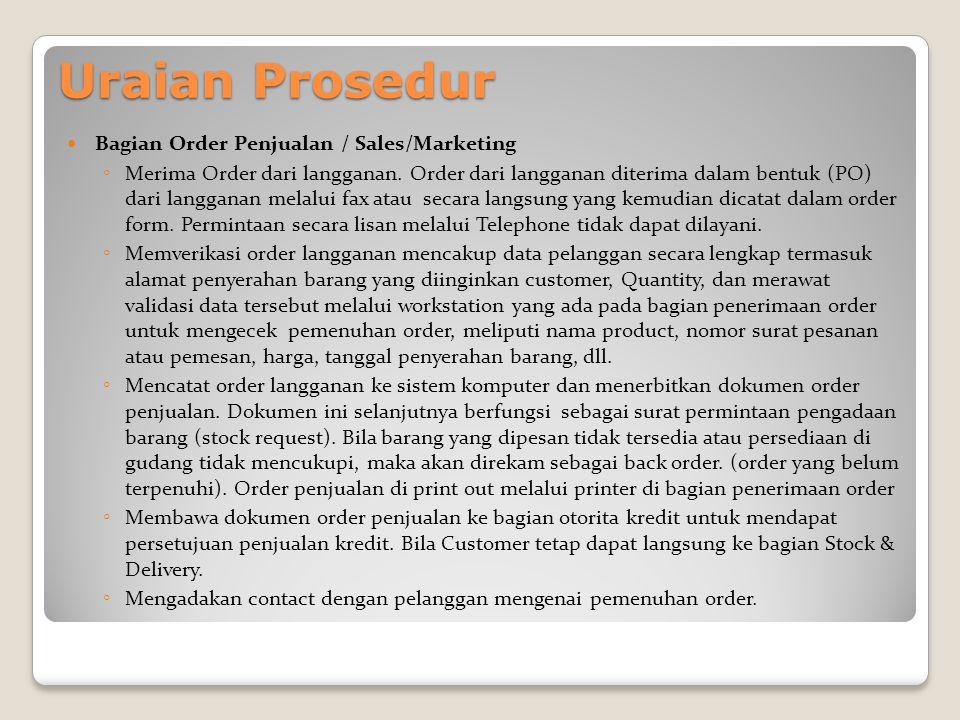 Uraian Prosedur Bagian Order Penjualan / Sales/Marketing