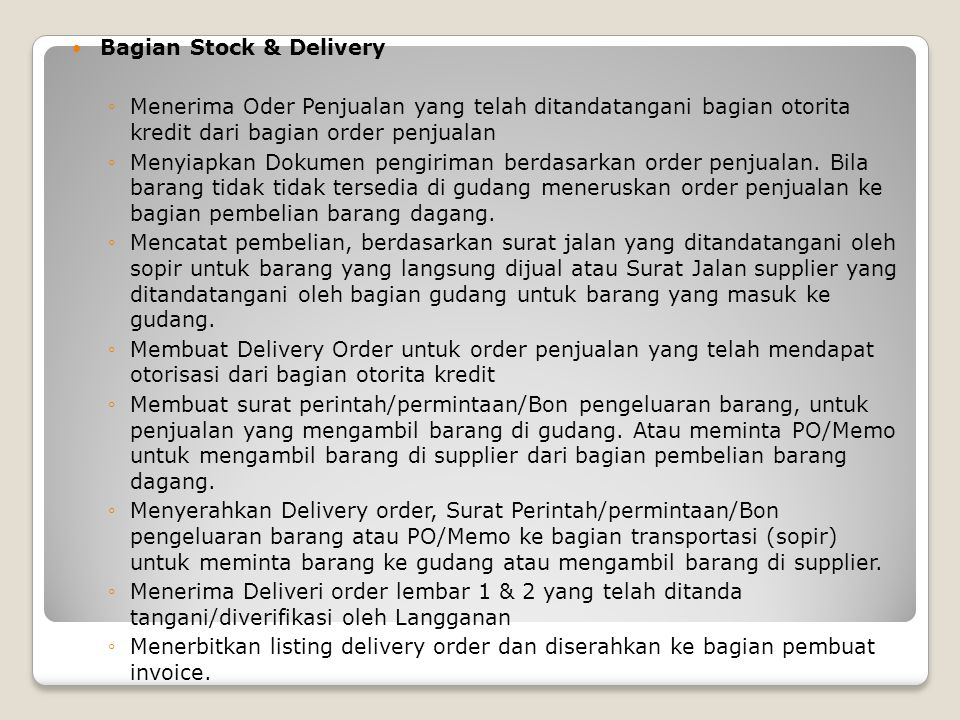 Bagian Stock & Delivery