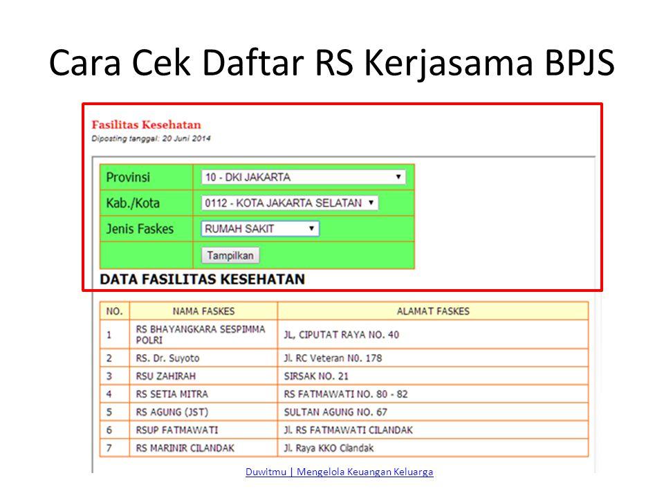 Cara Cek Daftar RS Kerjasama BPJS