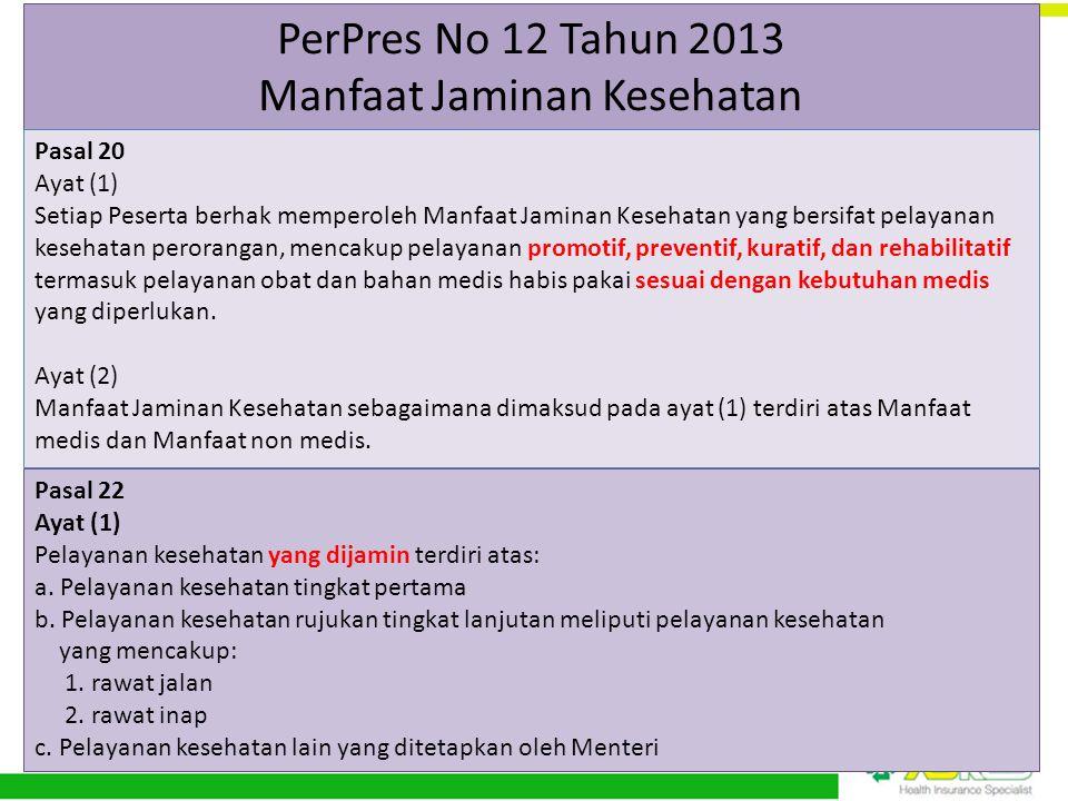 PerPres No 12 Tahun 2013 Manfaat Jaminan Kesehatan