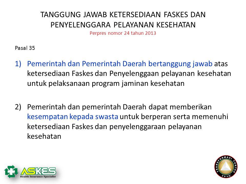 TANGGUNG JAWAB KETERSEDIAAN FASKES DAN PENYELENGGARA PELAYANAN KESEHATAN Perpres nomor 24 tahun 2013