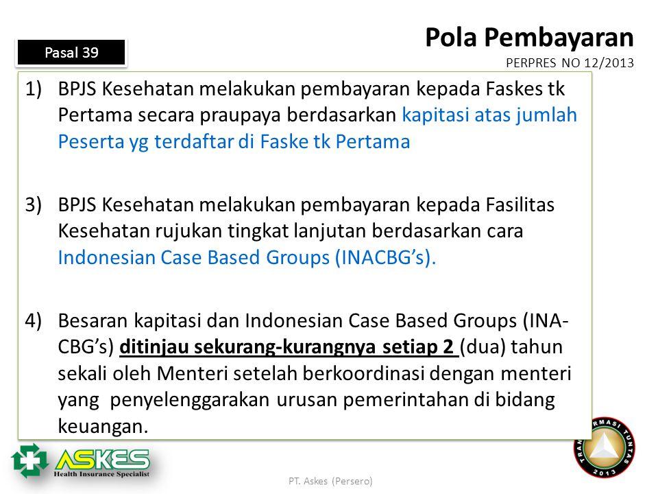Pola Pembayaran PERPRES NO 12/2013. Pasal 39.