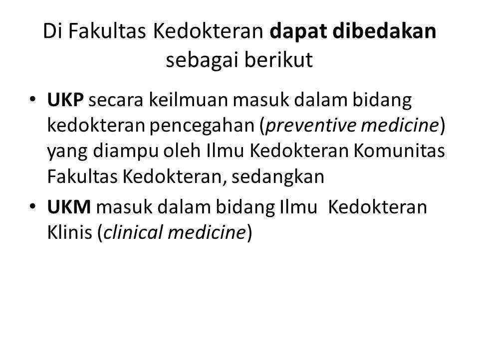 Di Fakultas Kedokteran dapat dibedakan sebagai berikut