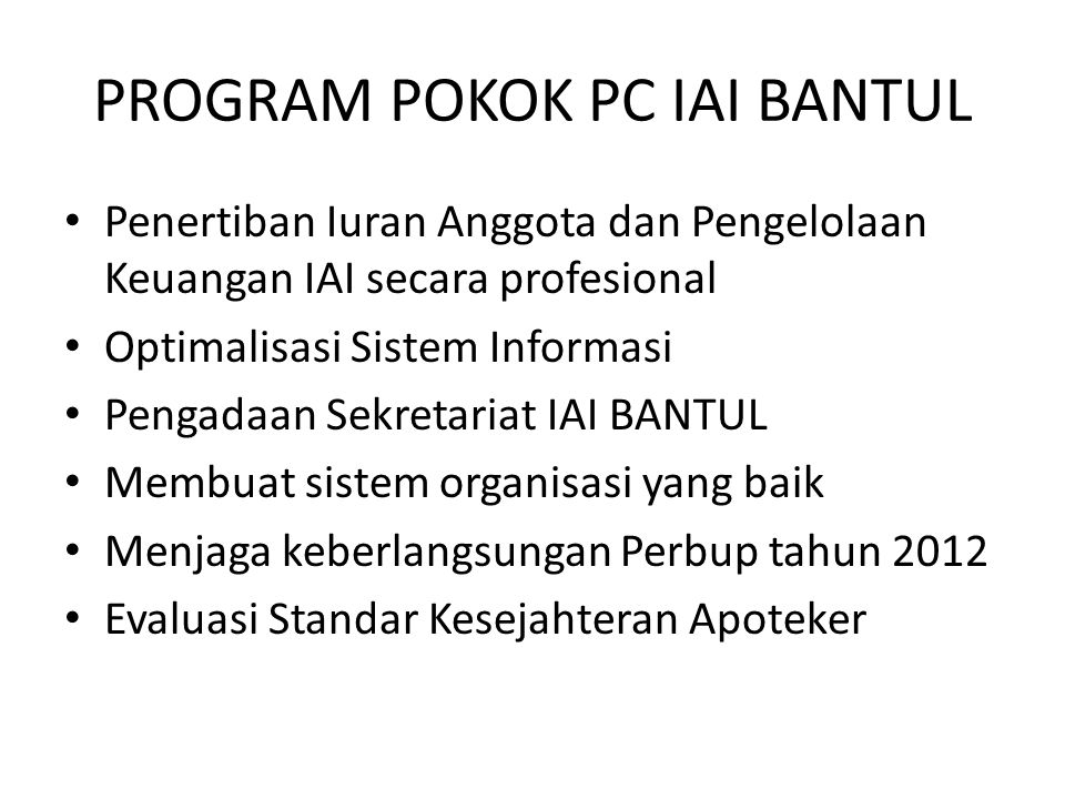 PROGRAM POKOK PC IAI BANTUL