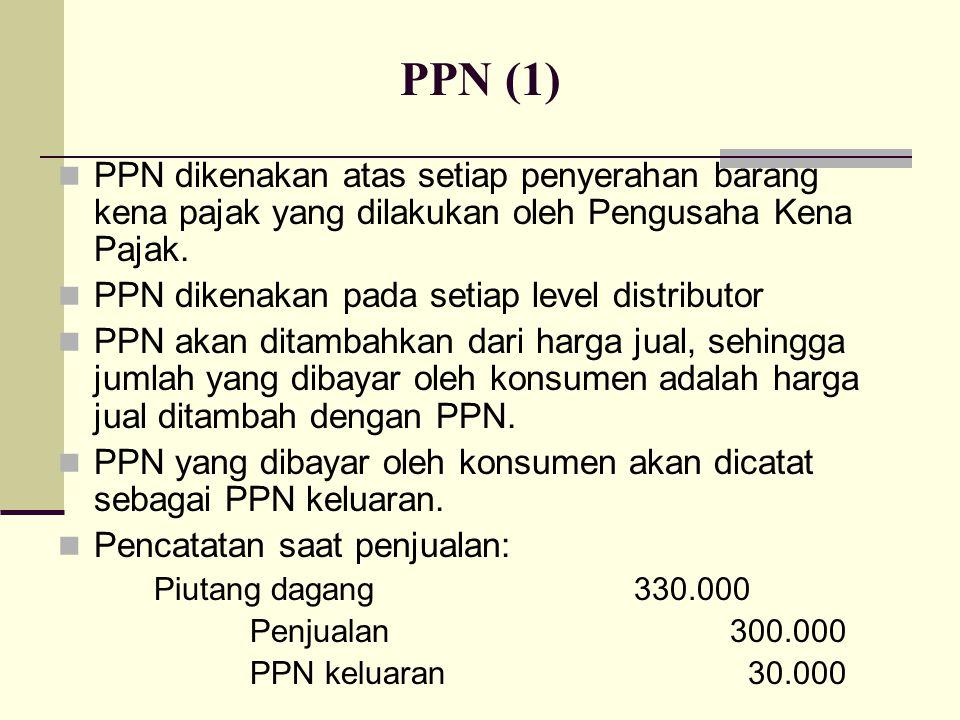 PPN (1) PPN dikenakan atas setiap penyerahan barang kena pajak yang dilakukan oleh Pengusaha Kena Pajak.