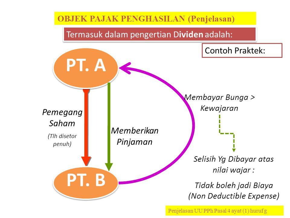 PT. A PT. B Termasuk dalam pengertian Dividen adalah: Contoh Praktek: