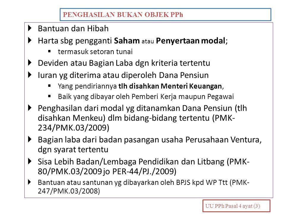 Harta sbg pengganti Saham atau Penyertaan modal;