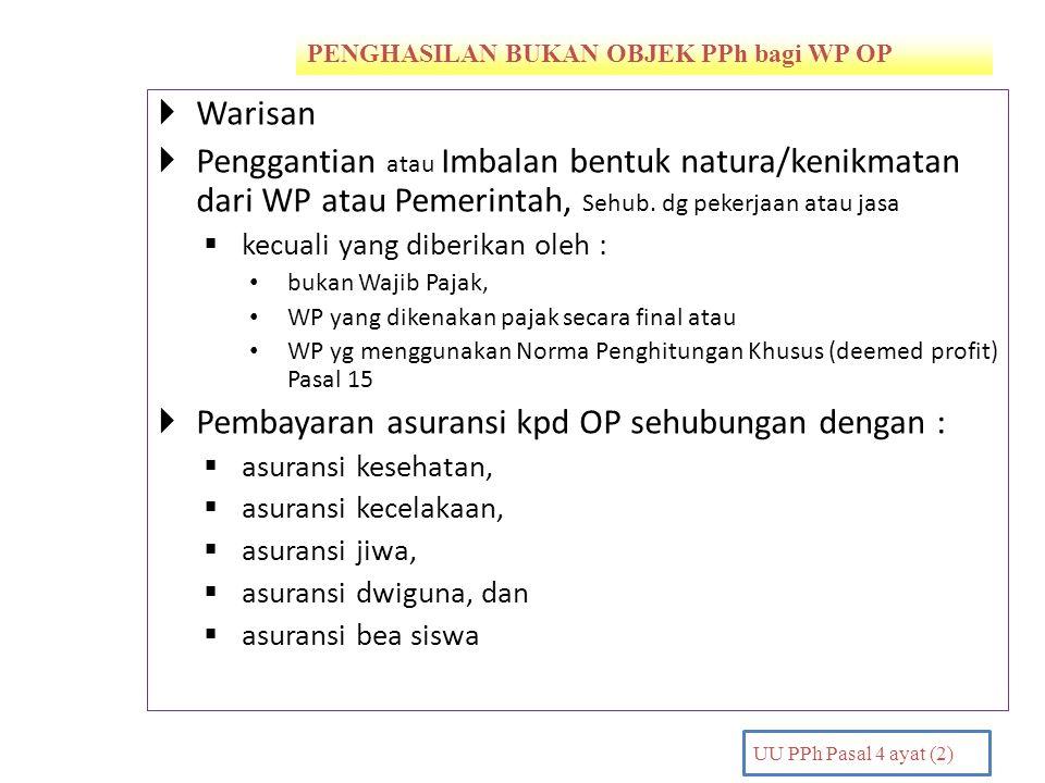 Pembayaran asuransi kpd OP sehubungan dengan :