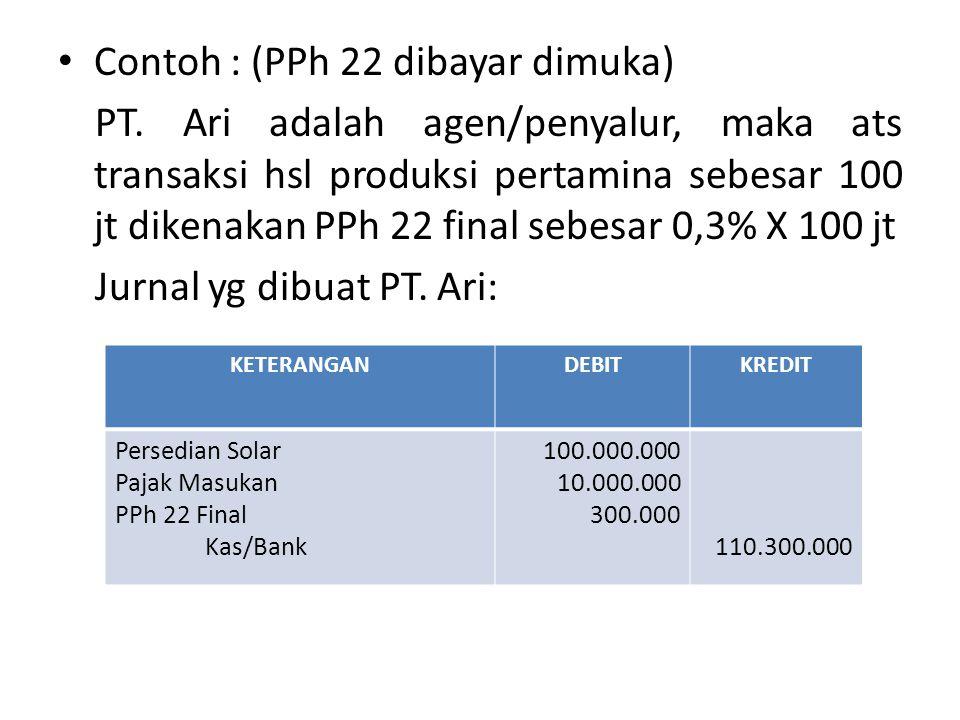 Contoh : (PPh 22 dibayar dimuka)