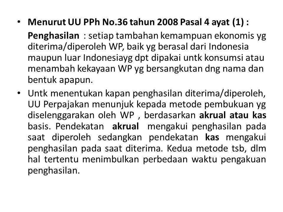Menurut UU PPh No.36 tahun 2008 Pasal 4 ayat (1) :