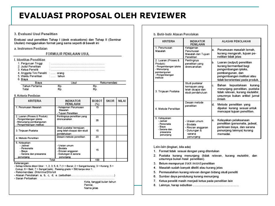 EVALUASI PROPOSAL OLEH REVIEWER