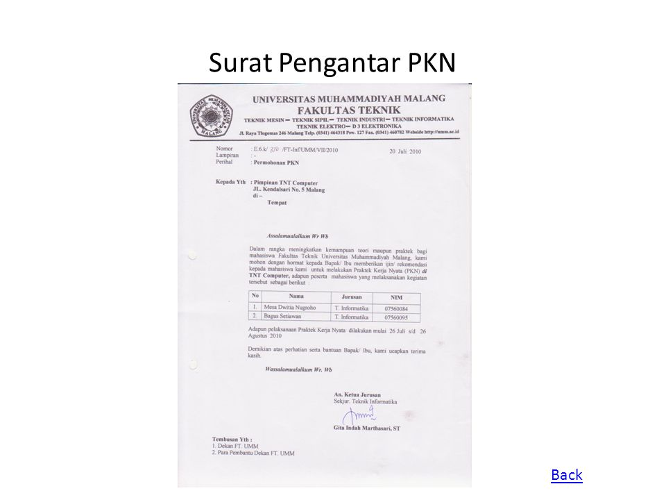 Surat Pengantar PKN Back