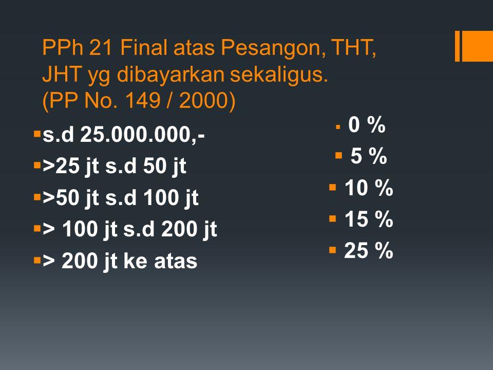 PPh 21 Final atas Pesangon, THT, JHT yg dibayarkan sekaligus. (PP No