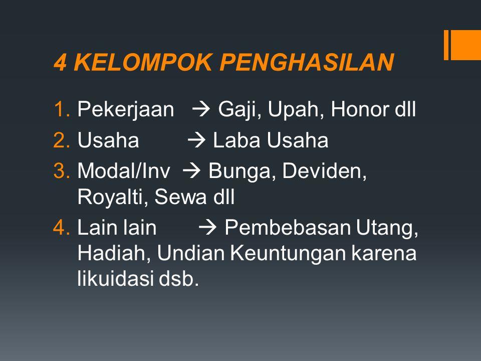 4 KELOMPOK PENGHASILAN Pekerjaan  Gaji, Upah, Honor dll