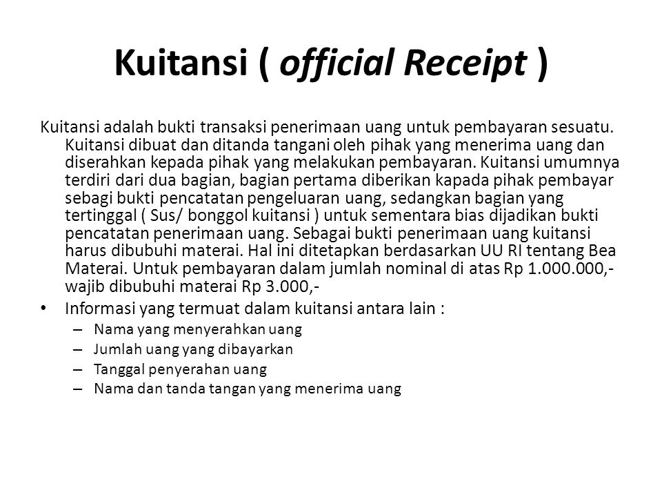 Kuitansi ( official Receipt )