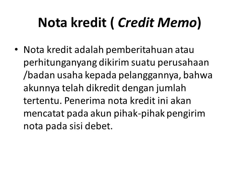 Nota kredit ( Credit Memo)