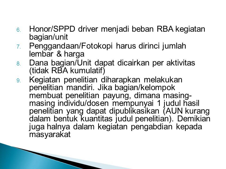 Honor/SPPD driver menjadi beban RBA kegiatan bagian/unit