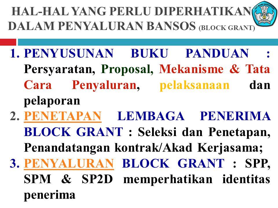 HAL-HAL YANG PERLU DIPERHATIKAN DALAM PENYALURAN BANSOS (BLOCK GRANT)