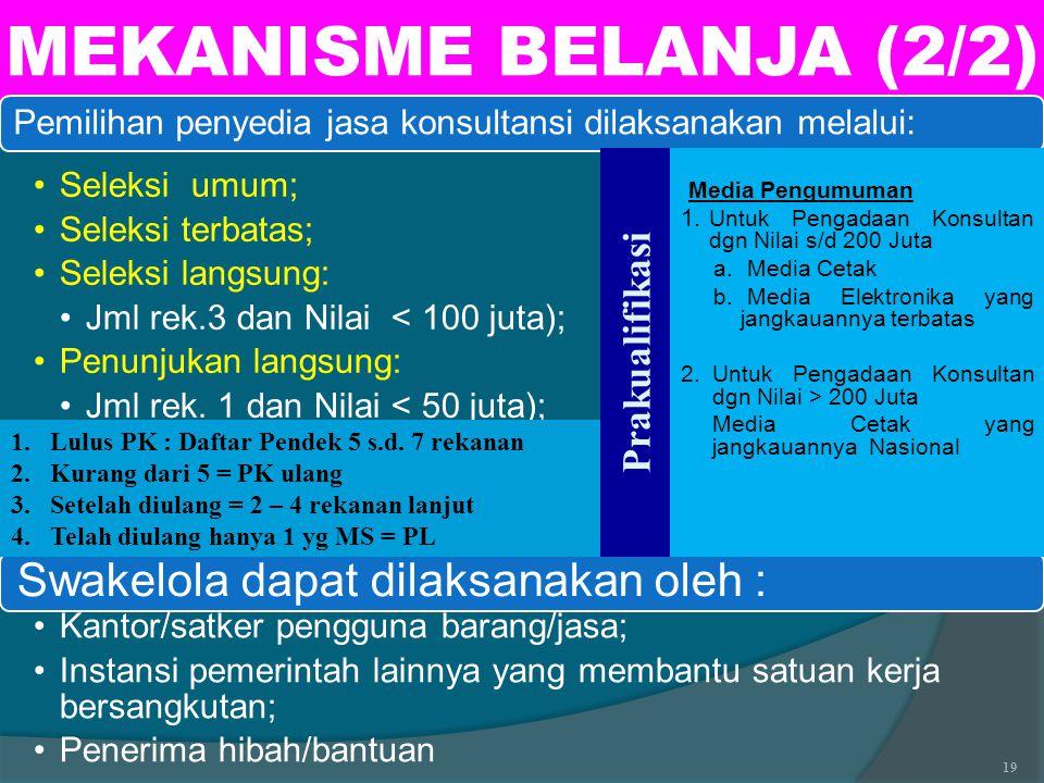 MEKANISME BELANJA (2/2) Swakelola dapat dilaksanakan oleh :
