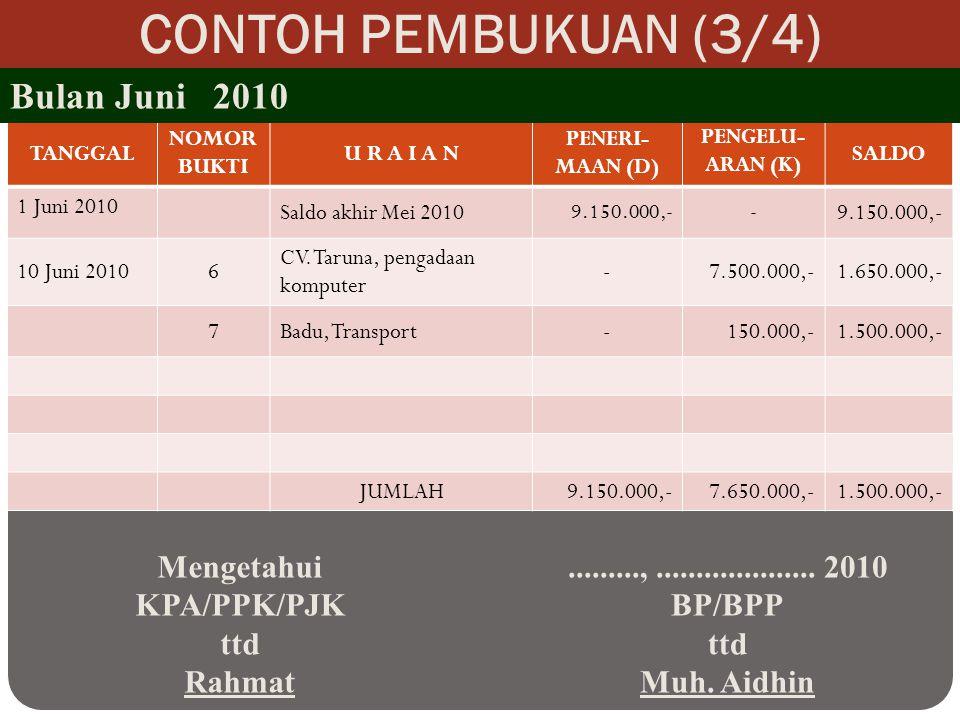 CONTOH PEMBUKUAN (3/4) Bulan Juni 2010 Mengetahui KPA/PPK/PJK ttd
