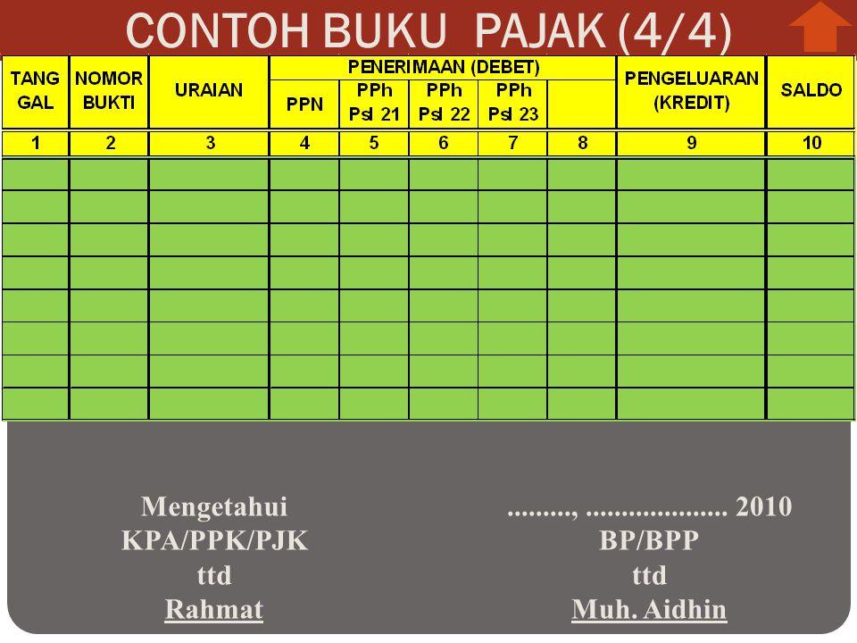 CONTOH BUKU PAJAK (4/4) Mengetahui KPA/PPK/PJK ttd Rahmat