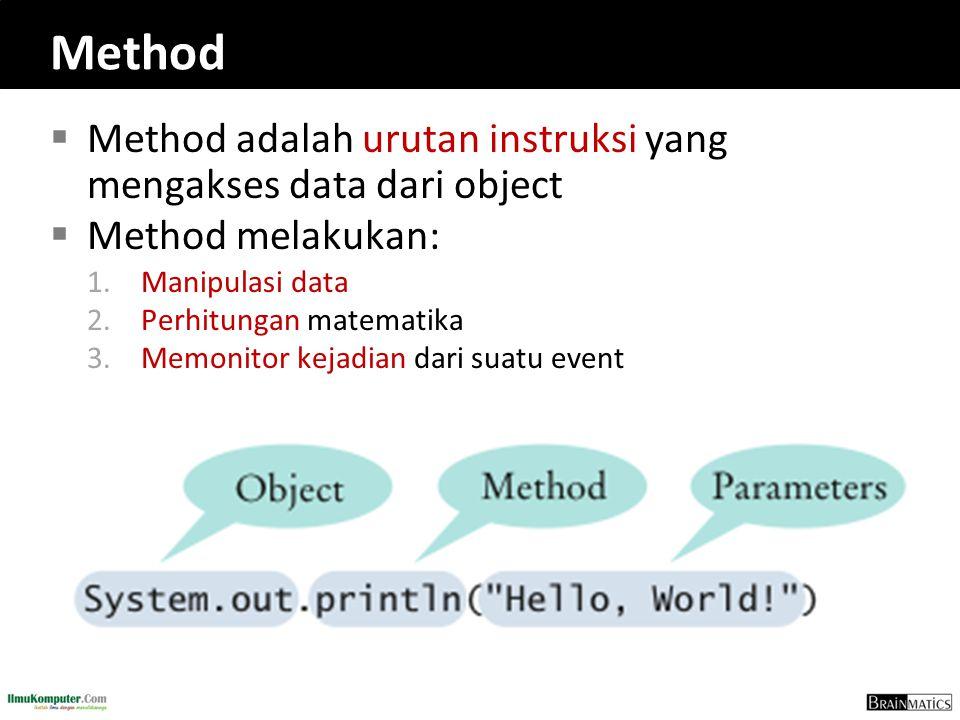 Method Method adalah urutan instruksi yang mengakses data dari object