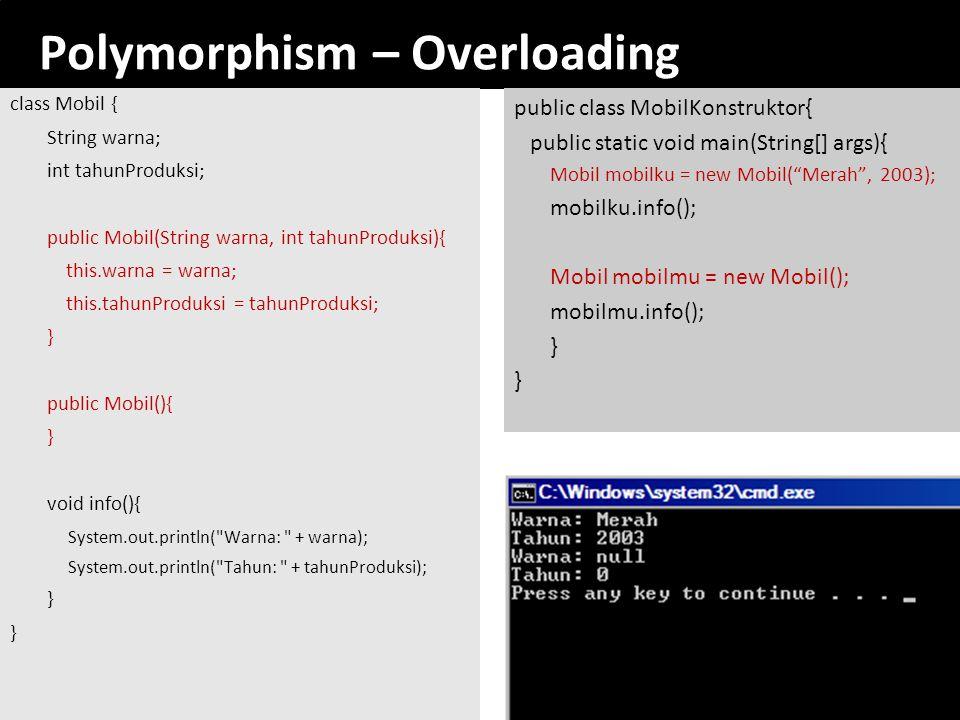 Polymorphism – Overloading